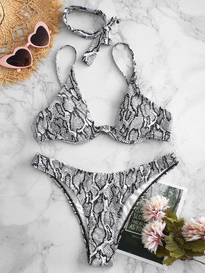 11a67b7ab6ab3 ZAFUL Snake Print High Cut Bikini Set - Multi-a S HOT