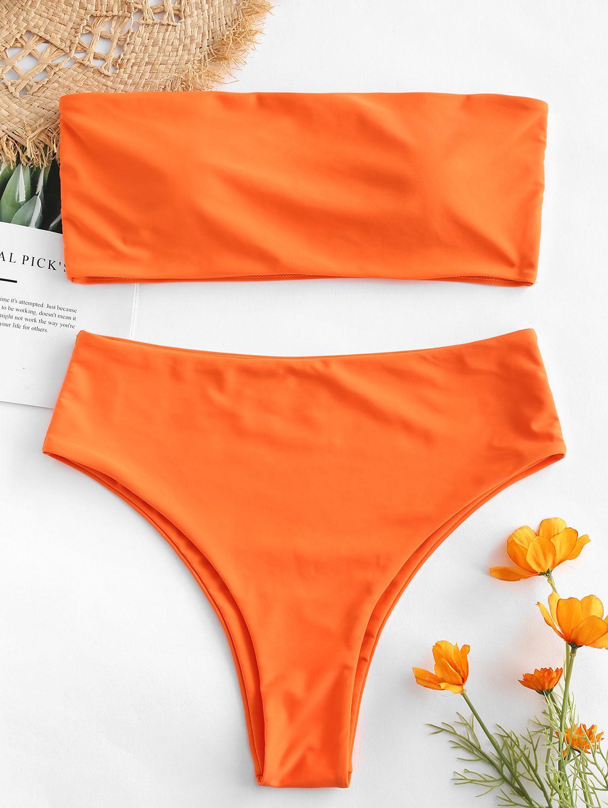 ZAFUL High Waisted Bandeau Bikini Set, Bright orange