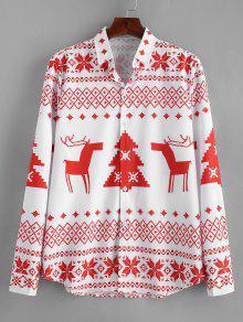 كم طويل عيد الميلاد الهندسة نمط القميص - أحمر M