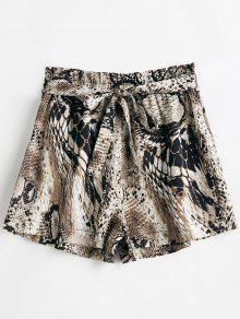 سروال ثونغ بنطلون واسع من جلد الثعبان - متعدد L