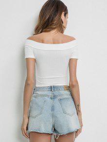 b902c17879a94 24% OFF   HOT  2019 Off Shoulder Fitted Crop Tee In WHITE