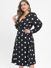 fac99507abe84 31% OFF  2019 Long Sleeve Plus Size Polka Dot Wrap Dress In BLACK ...
