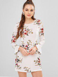 زهرة طباعة مضيئة كم فستان مستقيم - أبيض Xl