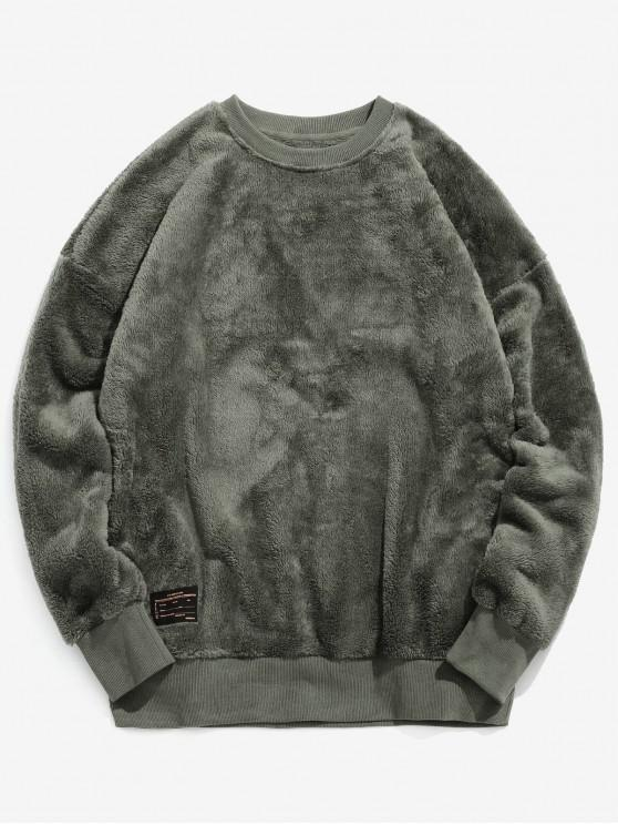chic ZAFUL Solid Crew Neck Fluffy Sweatshirt - ARMY GREEN L