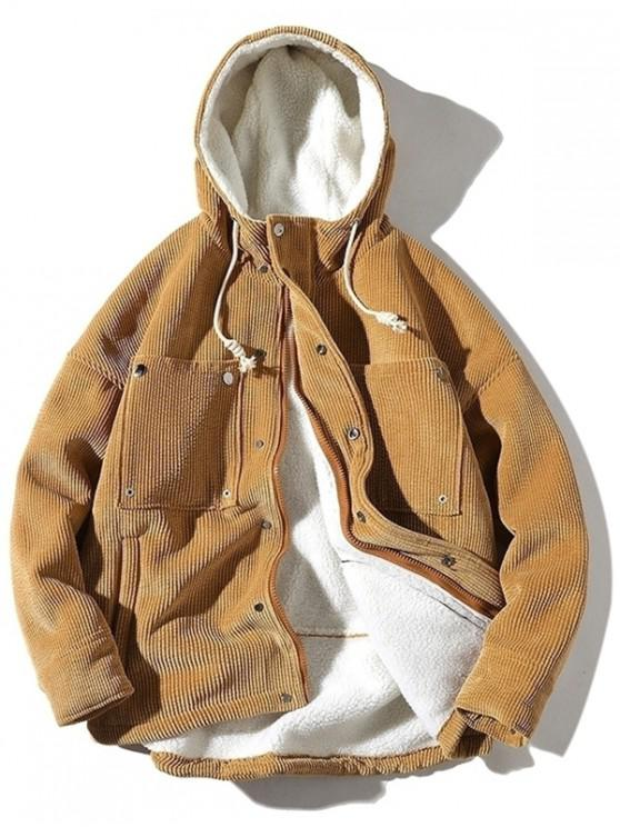 women's Vintage Corduroy Fluffy Lined Jacket - KHAKI XL