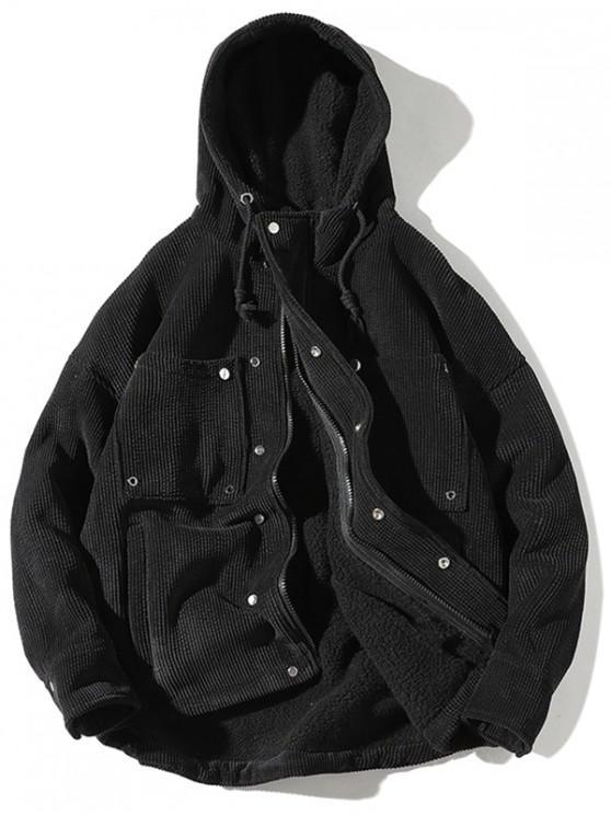 women's Vintage Corduroy Fluffy Lined Jacket - BLACK L