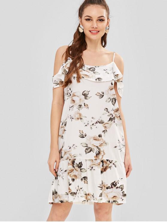 Tailliertes Volant-T-Shirt mit Blumenmuster - Weiß L