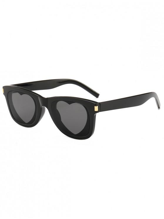 shop Heart Lens Plastic Frame Sunglasses - BLACK
