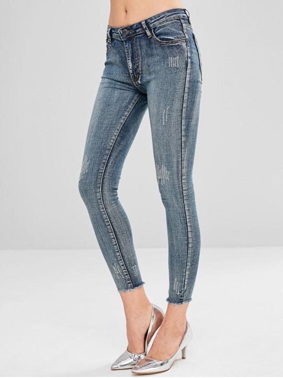 best Raw Hem Frayed Skinny Jeans - MULTI S
