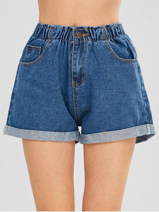 womens Cuffed Jean Shorts - DENIM BLUE M