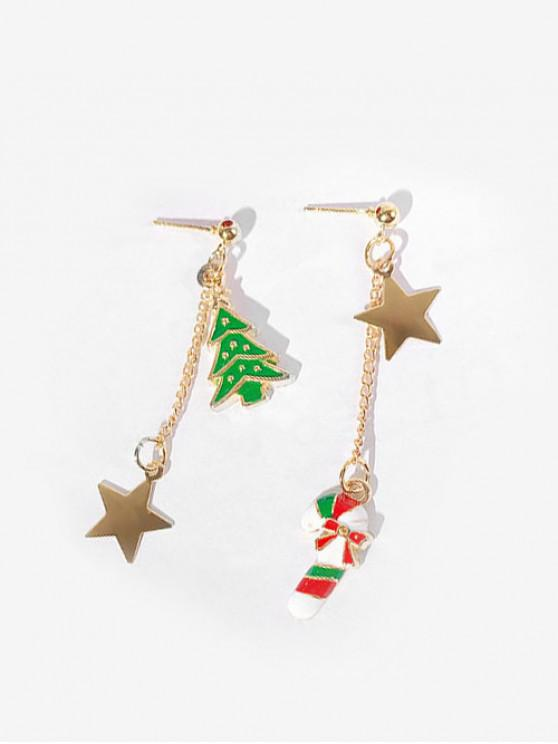 best Asymmetric Christmas Star and Cane Earrings - RED