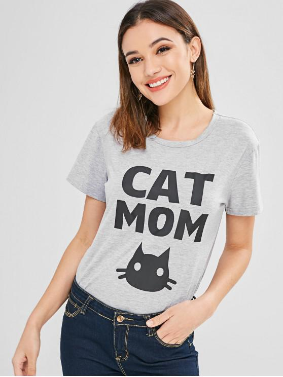 T gráfico da mamã do gato - Nuvem Cinzento 2XL