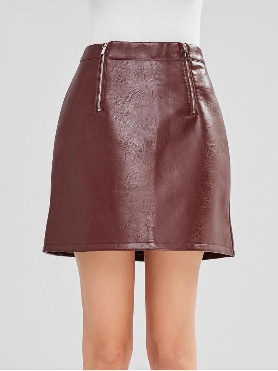 Zippers Plain Faux Leather Skirt