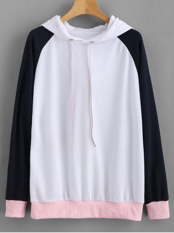 shops Pullover Color Block Baseball Hoodie - WHITE M