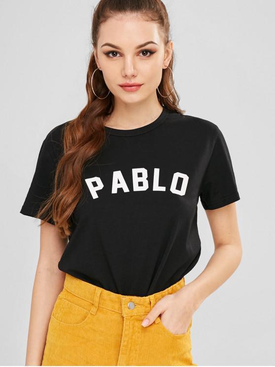 fancy Short Sleeve Pablo Graphic Tee - BLACK L