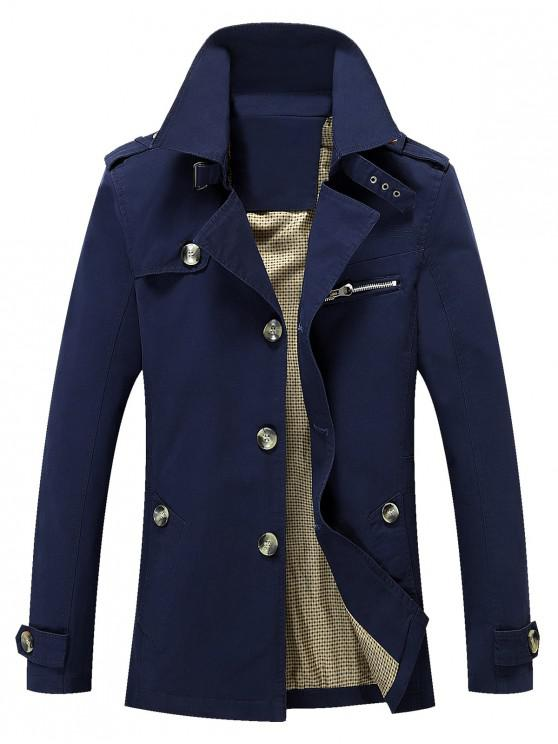 lady Solid Button Up Jacket - DEEP BLUE XS