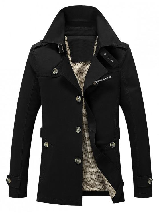 trendy Solid Button Up Jacket - BLACK XS