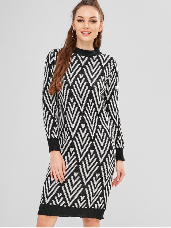 Vestido de punto con zigzag - Multicolor Única Talla