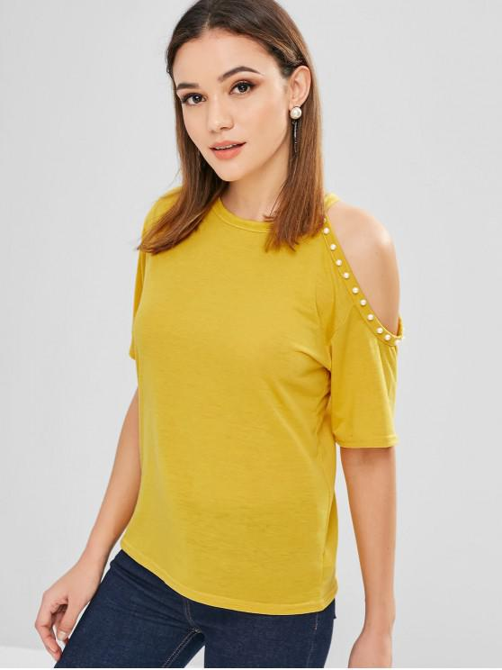 ee17a53e6ef5 29% OFF  2019 Beaded Cold Shoulder T-shirt In RUBBER DUCKY YELLOW ...