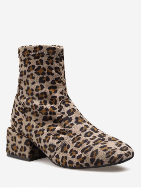 womens Chunky Heel Suede Sock Short Boots - LEOPARD EU 36