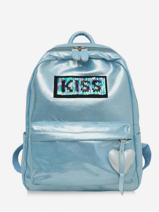 chic Heart Shape Hanging Drop Zipper Backpack - AQUAMARINE