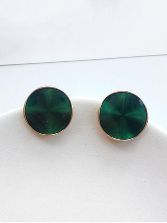 fashion Geometric Design Simple Stud Earrings - DARK GREEN