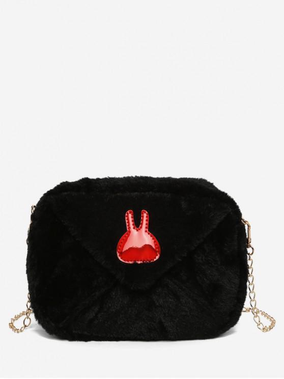 a664cdf16d66ee 36% OFF] 2019 Bunny Printed Plush Mini Crossbody Bag In BLACK | ZAFUL