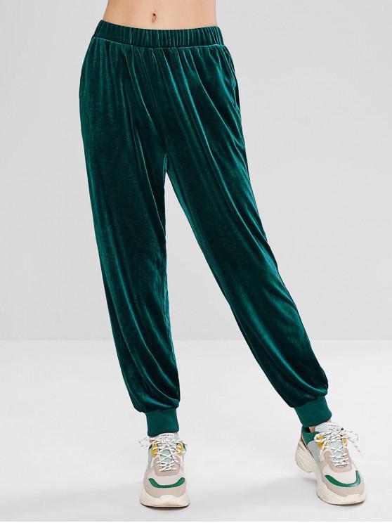 hot ZAFUL Velvet High Waisted Jogger Pants - DARK GREEN L