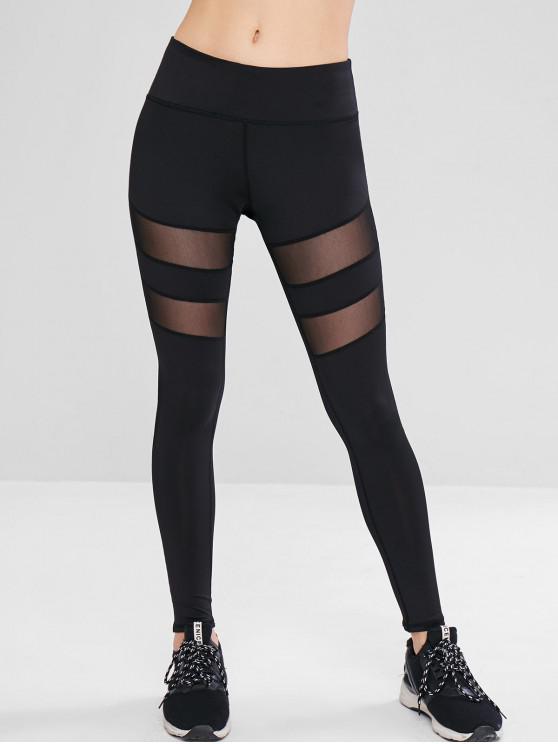 trendy Mesh Panel Workout Sport Leggings - BLACK L