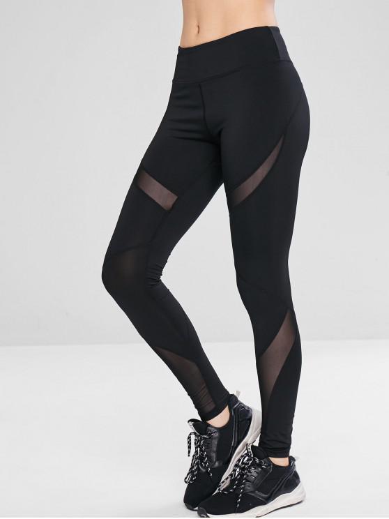 Leggings Sportivi Con Pannello In Tulle - Nero M