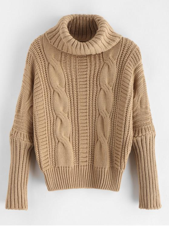 da2c1251d 33% OFF  2019 Turtleneck Chunky Cable Knit Sweater In TAN