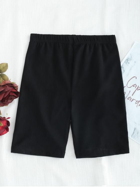 womens Biker Shorts - BLACK L