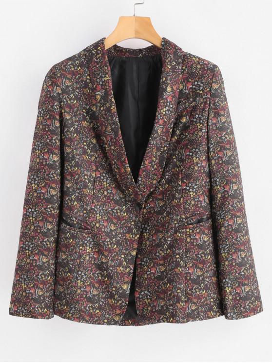 Blazer con estampado floral de cuello chal - Multicolor S