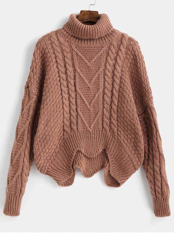 ladies Turtle Neck Wave Hem Sweater - BROWN ONE SIZE