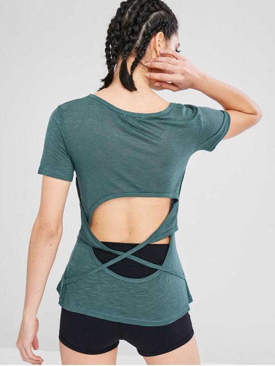 Meliertes Sport Gym T-Shirt ausgeschnitten - Meeresschildkröte Grün M