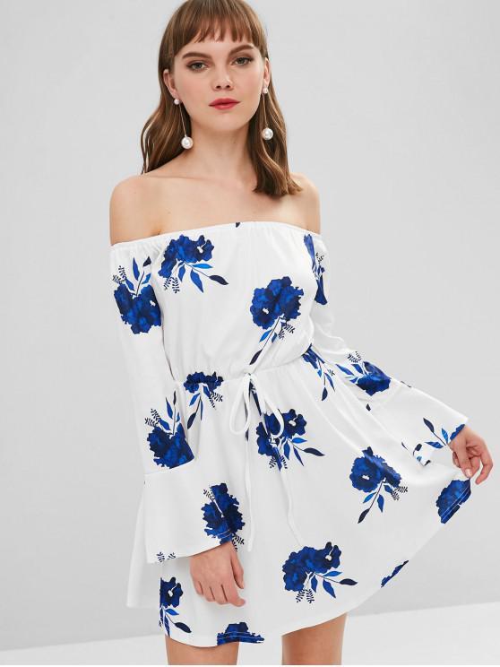 95b9d890fcc 2019 Floral Print Off Shoulder Mini Dress In DEEP BLUE S | ZAFUL