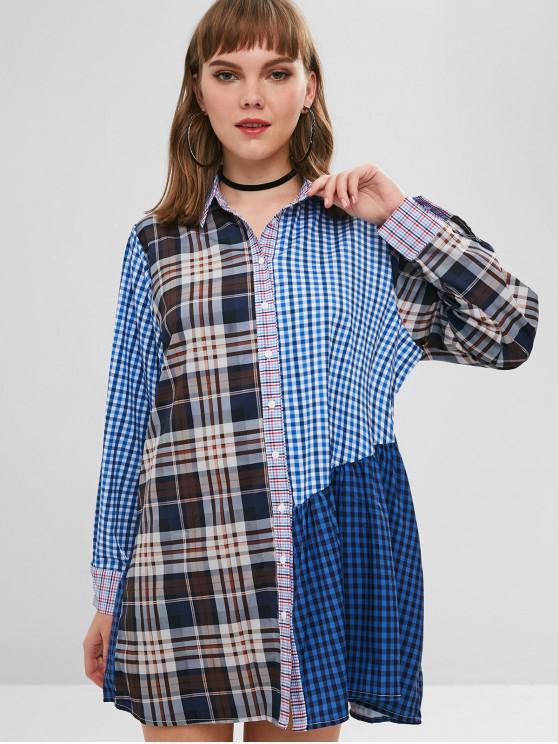 outfits Glen Check Long Sleeves Shift Shirt Dress - MULTI-A S