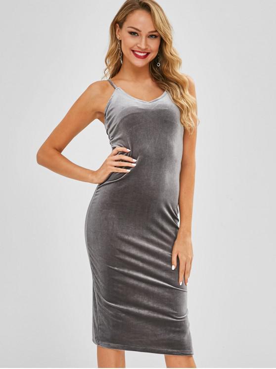 unique Side Slit Velvet Cami Dress - LIGHT SLATE GRAY ONE SIZE
