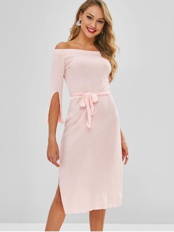 new Off Shoulder Slit Belted Sweater Dress - PINK M
