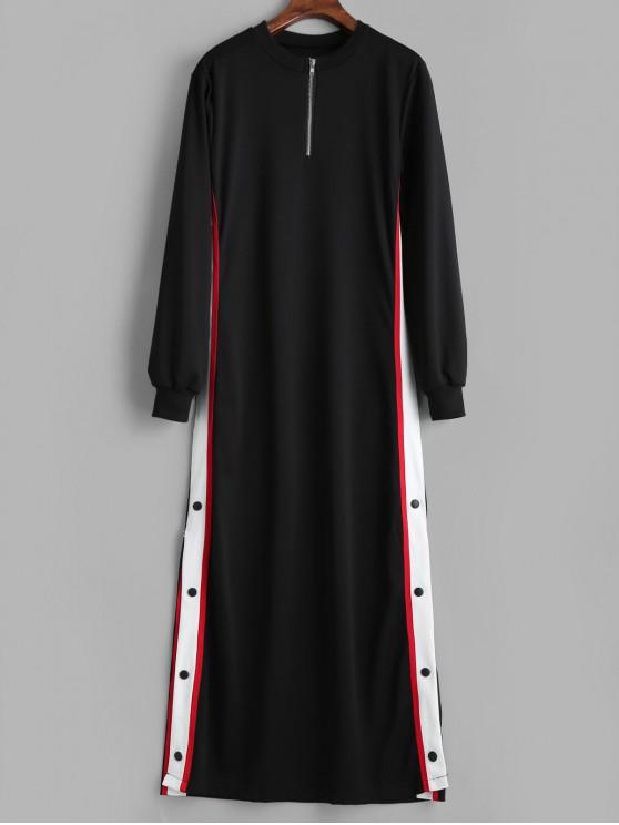 trendy Buttoned Side Split Long Sweatshirt Dress - BLACK L