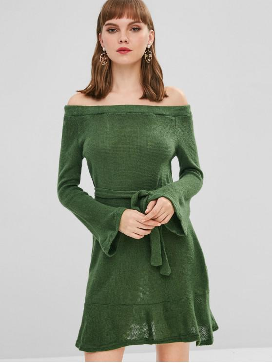 fancy Belted Off Shoulder Sweater Dress - JUNGLE GREEN XL