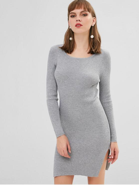 fashion Bodycon Ribbed Side Slit Sweater Dress - LIGHT GRAY ONE SIZE