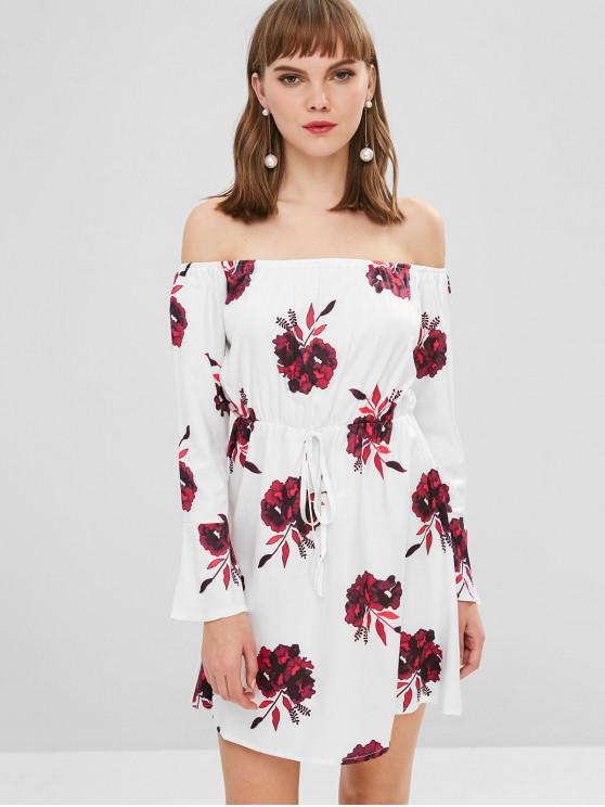 buy Floral Print Off Shoulder Mini Dress - BURNT PINK L