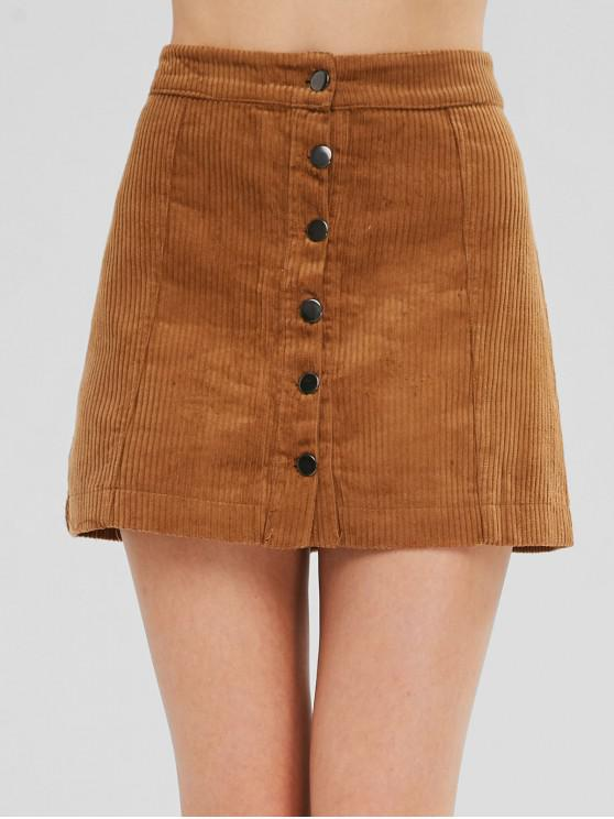 fashion Button Up Corduroy Mini A Line Skirt - LIGHT BROWN L