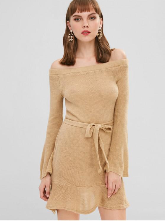 Schulterfrei Pullover Kleid mit Gürtel - Tan S