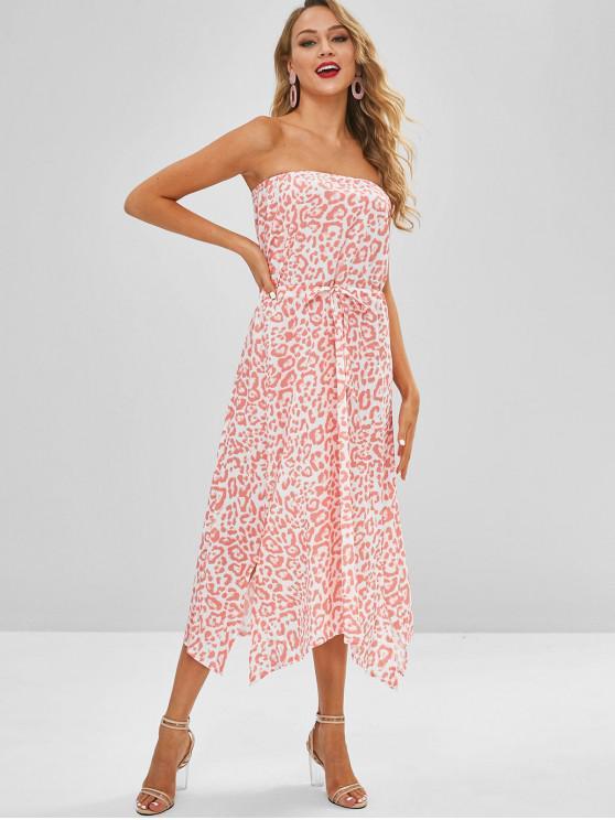 ladies Drawstring Bandeau Slit Beach Dress - PINK L