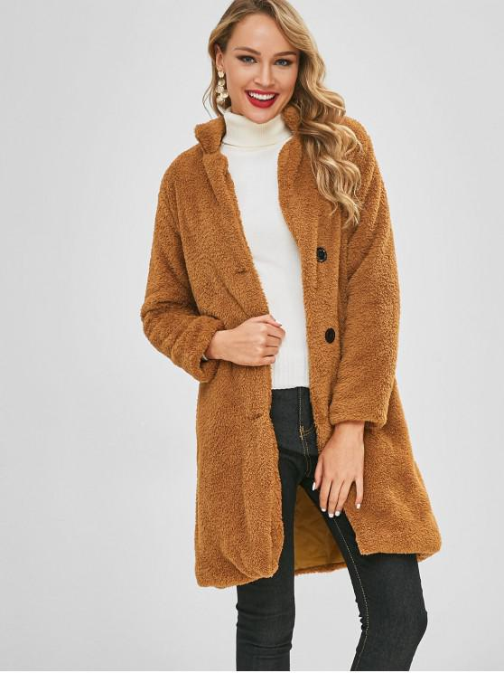 women Fluffy Shearling Single Breasted Coat - LIGHT BROWN XL