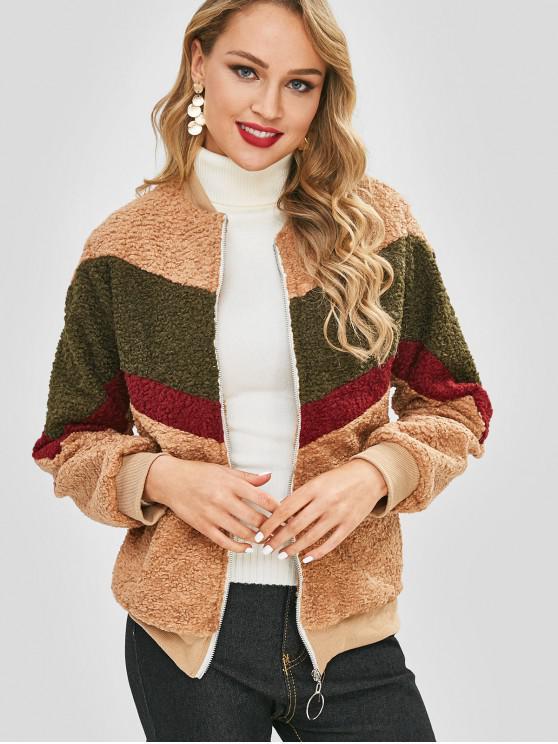 hot Color Block Faux Fluffy Coat - LIGHT BROWN M