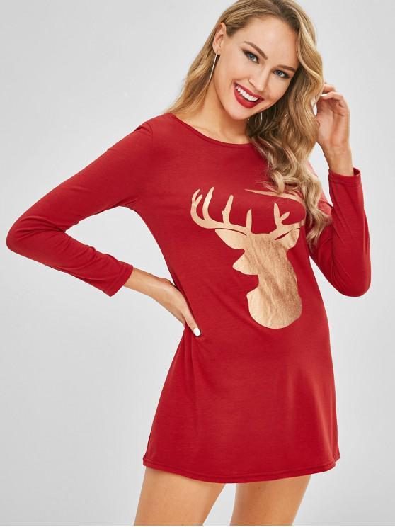 fashion Christmas Elk Print Tunic Tee Dress - RED M