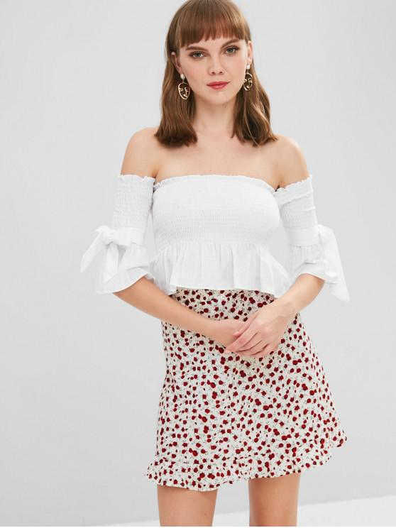 a9c72519049e7b 27% OFF  2019 Bow Smocked Off The Shoulder Crop Top In WHITE